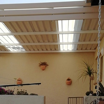 King Brands fixed awnings to cover a patio